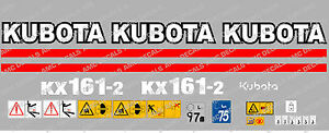 Kubota Kx161 2 Mini Digger Complete Decal Set With Safety Warning Signs