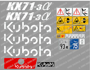Kubota Kx71 3 Mini Digger Complete Decal Set With Safety Warning Signs