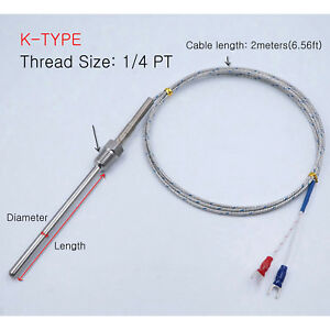 K Type Thermocouple Temperature Probe Sensor D 4 8 Pt1 4 2m 6 56ft Cable