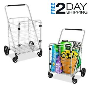 Handle Basket Cart Heavy Duty Shop Utility Metal Front Door Large Pulling Wheels