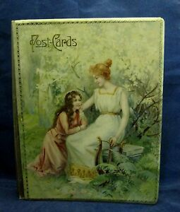 Victorian Postcard Album Book Celluliod Cover 19 Cards Lovely Lady Girl Shp