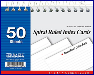 Bazic 50 Ct Spiral Bound Index Cards 3x5 Perforated Flash Cards For School Sta