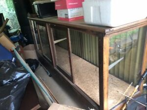 8 Ft Antique Oak Display Case With Beveled Glass Top Original Glass