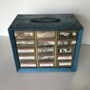 Vintage Akro Mils Metal Storage Box Bins Cabinet 15 Drawer Blue