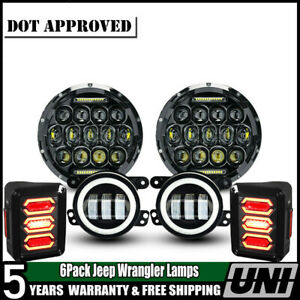 For Jeep Wrangler Jk 7 Led Headlight Fog Turn Signal tail Light Brake 07 17