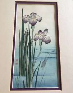 Vintage Gyosui Suzuki Original Japanese Woodblock Rare Iris And Frog Framed