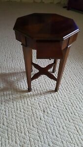 Vintage Mid Century Modern Lane Octagon Side End Table With Pull Out Tray