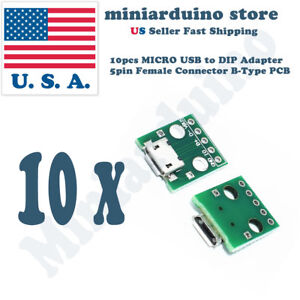 10pcs Micro Usb To Dip Adapter 5pin Female Connector Pcb Converter Diy Kit Mini