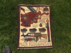 Very Interesting Wool Afghan Hand Knotted War Rug 60 Cm By 80 Cm Circa 2014