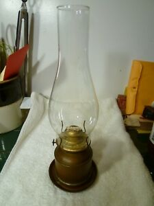 Vintage Antique Nautical Brass Oil Lamp W Glass Shade