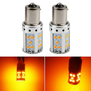 Error Free Amber Yellow Ba15s 1156 Led Bulbs 35 Smd Turn Signal Lights Canbus