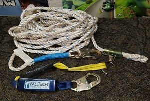 50 ft Home Construction Harness Safety Fall Protection Rope Lifeline W Lanyard