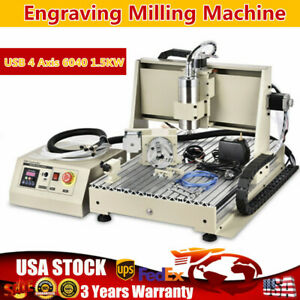 Usb 4 Axis 6040 1 5kw Router Engraver Engraving Milling Machine With Ball Screws