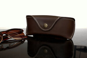 Glasses case Sunglasses case w BELT LOOP Veg tan Leather Chocolate brown Handcra
