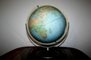 Replogle Land And Sea Raised Relief Globe 12 Diameter With Swivel Metal Base