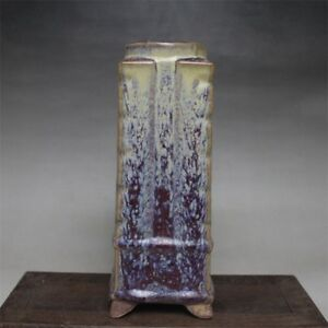 Chinese Old Jun Kiln Purple Red Transmutation Glaze Square Porcelain Cong Vase
