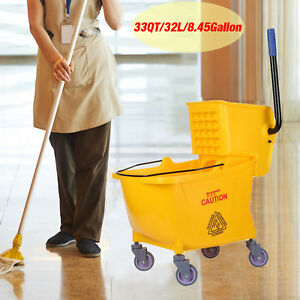33 Quart Commercial Wet Mop Bucket Wringer Combo Yellow Janitorial