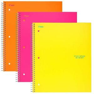 Five Star Spiral Notebooks 3 Subject College Ruled Paper 150 Sheets 11 X 3