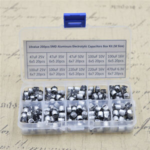 10 Value Smd Aluminum Electrolytic Capacitors Assortment Box Kit 200pcs m Size