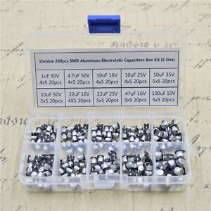 10 Value Smd Aluminum Electrolytic Capacitors Box Kit 200 Pcs s Size