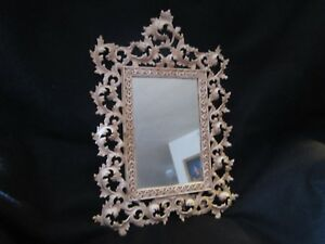 Art Nouveau Metal Mirror W Stand 16 X 11 Scroll Frame