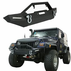 Rock Crawler Front Bumper W Led Lights Winch Plate For 87 06 Jeep Wrangler Tj
