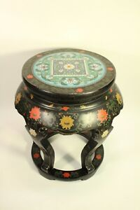 Chinese Furniture Cloisonne Side Table Carved Wood Lacquer Painted Garden Stool
