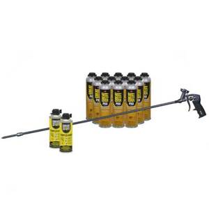 Great Stuff Wall Floor Adhesive 12 26 5 Oz Cans 40 In Foam Gun 2 Cleaner