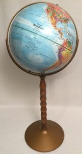 Vtg Replogle 12 World Nation Globe Metal Floor Stand Raised Geography 30 Tall