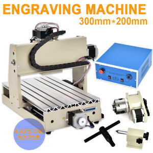 4 Axis Cnc 3020 Router Engraving Machine Milling Carving Cutting Desktop Machine