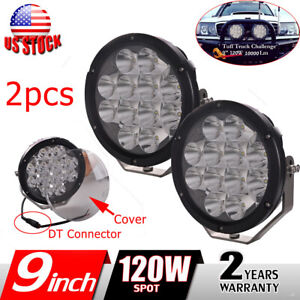 2x 9 120w Round Led Work Light Spot Driving Head Fog Lamp Offroad Cover