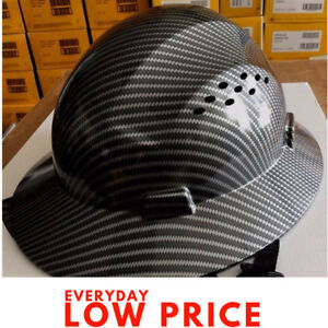 Hdpe Hard Safety Hat Black Full Suspension Carbon Fiber Plastic Brim Design Men