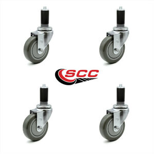 Scc 4 Gray Polyurethane Caster W 1 1 4 Expanding Stem Set Of 4