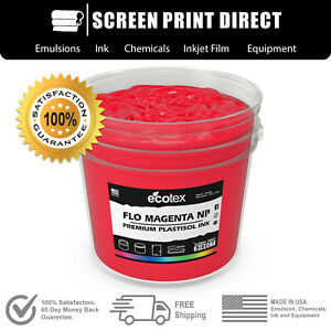 Ecotex Fluorescent Magenta Premium Plastisol Ink For Screen Printing Gallon
