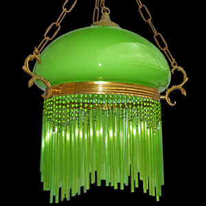 Art Nouveau Art Deco Chandelier Pendant Light W Opaline Green Glass Shade Straws