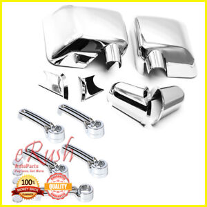 For 07 17 Jeep Wrangler Chrome Side Mirror Door Handle Tail Covers Combo Cover