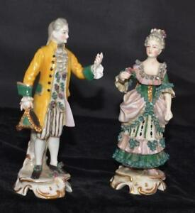 Ackerman Fritze Volkstedt Figurines Man W Hat Woman W Rose 6 5 H 1910