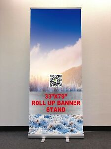 33 79 Retractable Roll Up Banner Stand free Printing Shipping local Pick Up