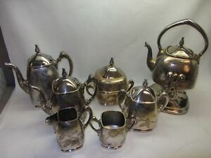 7 Pc Reed Barton Vtg Silverplate Coffee Set Roses Tilt Stand Teapot Creamer