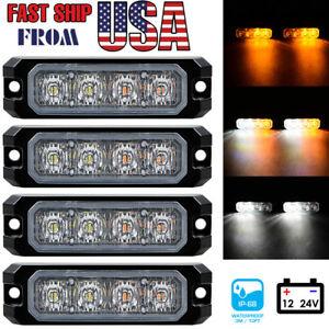 4x Amber White 4 led Flashing Strobe Light Emergency Warning Caution Hazard Sync