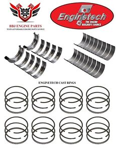 Enginetech Ford 351 351w Windsor 5 8l Rod Main Bearings With Piston Rings 69 76
