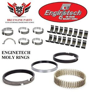 Enginetech Ford 302 5 0l Coyote Dohc Rod Main Bearings With Piston Rings 11 16