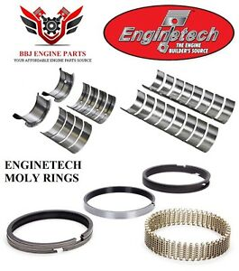 Enginetech Chevy Sbc 400 Rod And Main Bearings With Piston Rings 1970 1980