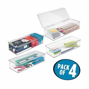 Mdesign Compact Stackable Office Storage Organizer Box Bin Attached Hinged Lid
