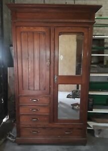Antique Wardrobe Armoire With Mirrors 1910 Vintage Closet