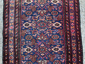 3x9 Blue Persian Runner Rug Antique Heriz Hand Knotted Iran Serapi Wool 3x10 3x8