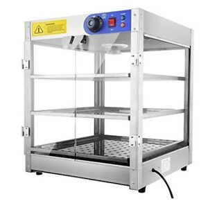 3 Tier Food Warmer Commercial Auto Temp 3 Tray Pizza Pastry Display Case Box New