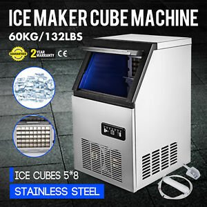 60kg 132lbs Commercial Ice Cube Making Machine Snack Bars 110v Water Filter