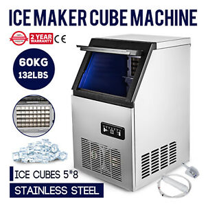 Ice Cube Making Machine Commercial 132lb 60kg Ice Cube Maker Stainless Steel