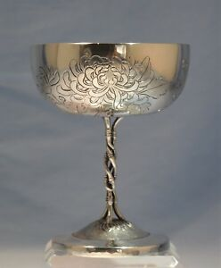 Chinese Sterling Silver Engraved Chalice Goblet Luen Wo Chrysanthemum